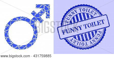 Fraction Mosaic Alternate Gender Symbol Icon, And Blue Round Funny Toilet Grunge Stamp Imitation Wit