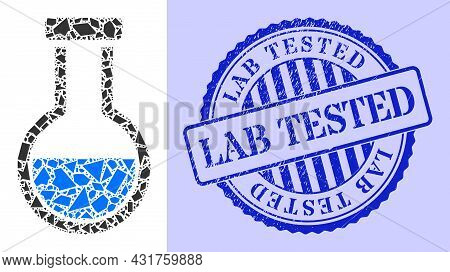 Shards Mosaic Analysis Flask Icon, And Blue Round Lab Tested Rough Stamp Print With Word Inside Roun
