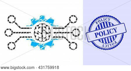Shards Mosaic Artificial Intellect Icon, And Blue Round Policy Dirty Stamp Seal With Word Inside Rou