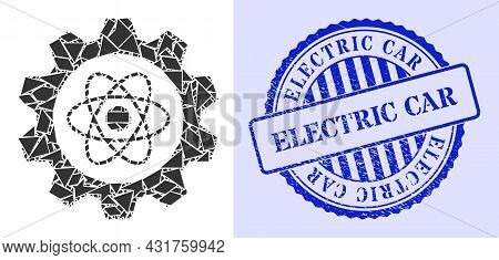 Detritus Mosaic Atomic Industry Icon, And Blue Round Electric Car Grunge Stamp Seal With Tag Inside