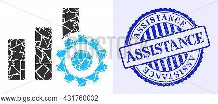 Debris Mosaic Bar Chart Settings Icon, And Blue Round Assistance Unclean Stamp Seal With Caption Ins