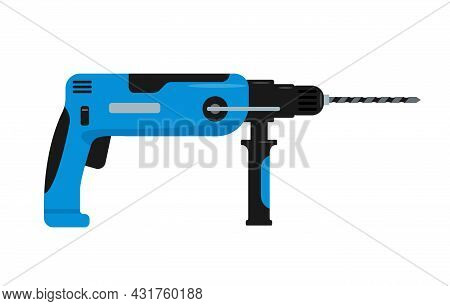 Blue Drill Or Perforator. Electric Device For The Home Repair, Construction, Finishing, Carpentry Wo