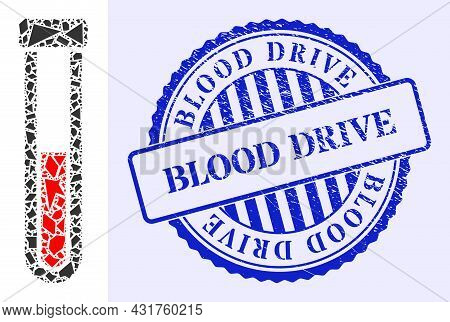 Spall Mosaic Blood Test-tube Icon, And Blue Round Blood Drive Grunge Seal With Caption Inside Round