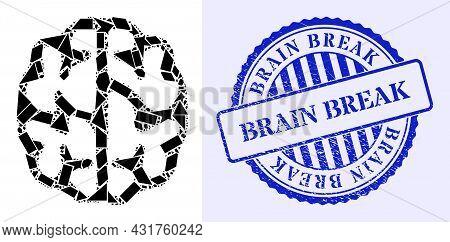 Debris Mosaic Brain Icon, And Blue Round Brain Break Unclean Seal With Text Inside Round Form. Brain