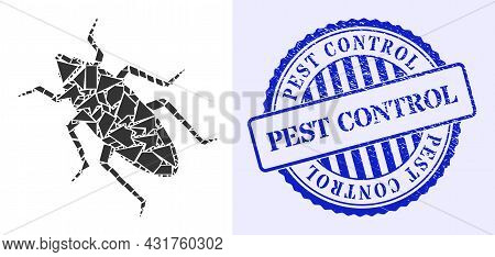 Shatter Mosaic Bug Icon, And Blue Round Pest Control Grunge Stamp Seal With Caption Inside Round For