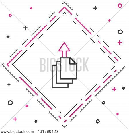 Line Data Export Icon Isolated On White Background. Colorful Outline Concept. Vector