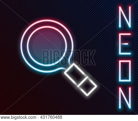 Glowing Neon Line Magnifying Glass With Search Icon Isolated On Black Background. Detective Is Inves
