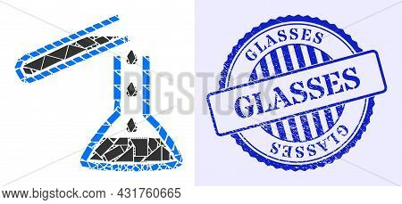 Debris Mosaic Chemical Liquid Glasses Icon, And Blue Round Glasses Grunge Seal With Text Inside Roun