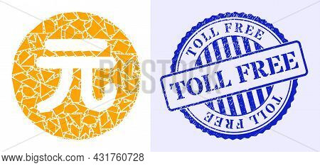 Shards Mosaic Chinese Yuan Coin Icon, And Blue Round Toll Free Grunge Stamp Seal With Text Inside Ro