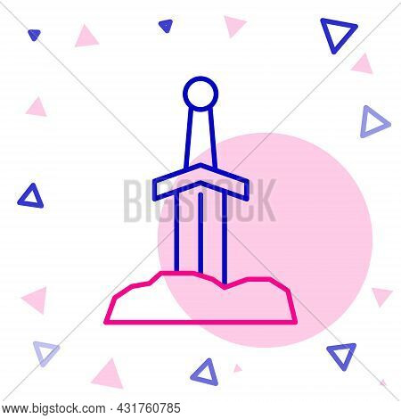 Line Sword In The Stone Icon Isolated On White Background. Excalibur The Sword In The Stone From The