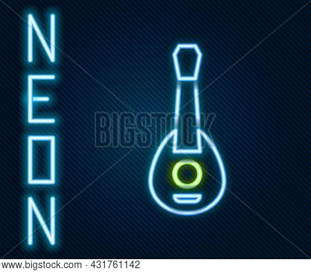 Glowing Neon Line Guitar Icon Isolated On Black Background. Acoustic Guitar. String Musical Instrume