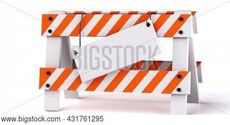 Road work sign on white 3d render