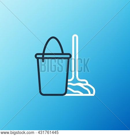 Line Mop And Bucket Icon Isolated On Blue Background. Cleaning Service Concept. Colorful Outline Con