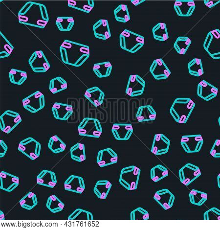 Line Adult Diaper Icon Isolated Seamless Pattern On Black Background. Vector