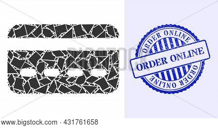 Debris Mosaic Credit Card Icon, And Blue Round Order Online Corroded Seal With Tag Inside Round Form