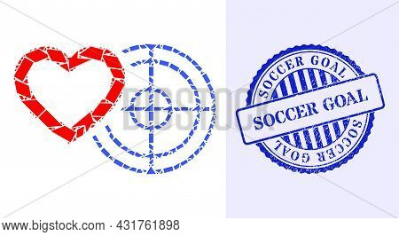 Shard Mosaic Romantic Heart Target Icon, And Blue Round Soccer Goal Unclean Rubber Print With Captio