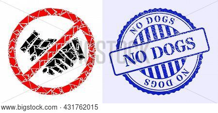 Debris Mosaic Stop Handshakes Icon, And Blue Round No Dogs Grunge Stamp Seal With Text Inside Round