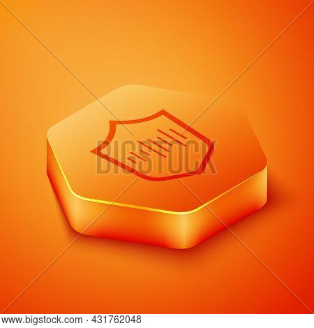 Isometric Shield Voice Recognition Icon Isolated On Orange Background. Voice Biometric Access Authen