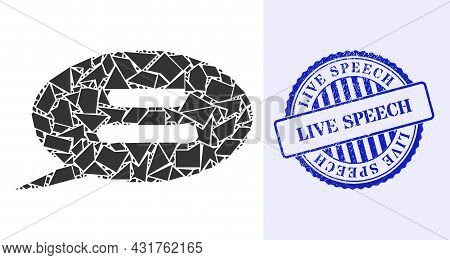Debris Mosaic Text Message Icon, And Blue Round Live Speech Scratched Stamp Imitation With Tag Insid