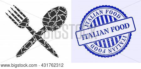 Debris Mosaic Fork And Spoon Icon, And Blue Round Italian Food Textured Stamp Seal With Text Inside