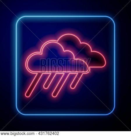 Glowing Neon Cloud With Rain Icon Isolated On Black Background. Rain Cloud Precipitation With Rain D
