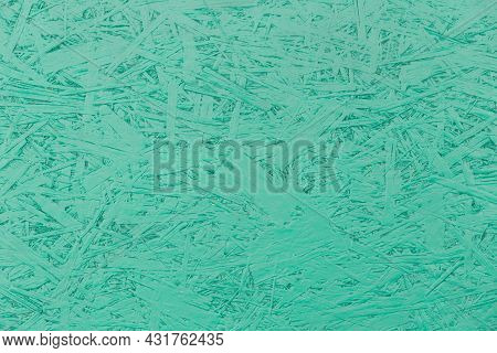 Aquamarine Or Turquoise Paint Chipboard Abstract Pattern Surface, Pressed Wood Texture, Particleboar