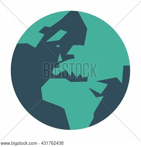 Simplified Earth Globe With Map Of World Focused On Europe. Vector Illustration.