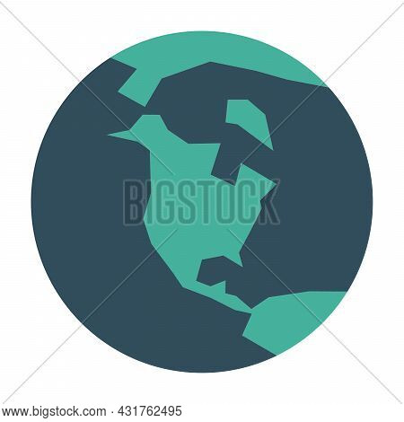 Simplified Earth Globe With Map Of World Focused On North America. Vector Illustration.