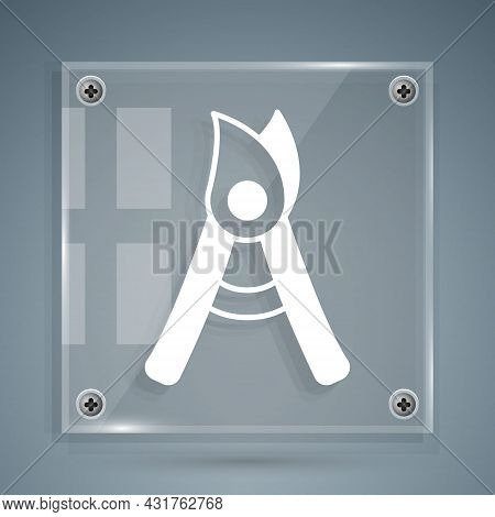 White Gardening Handmade Scissors For Trimming Icon Isolated On Grey Background. Pruning Shears With