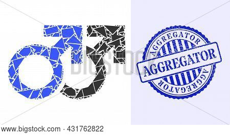 Shatter Mosaic Gay Couple Symbol Icon, And Blue Round Aggregator Grunge Stamp Imitation With Tag Ins