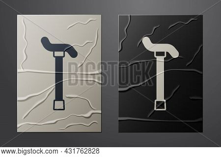 White Walking Stick Cane Icon Isolated On Crumpled Paper Background. Paper Art Style. Vector