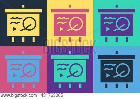 Pop Art Scenario On Chalkboard Icon Isolated On Color Background. Script Reading Concept For Art Pro
