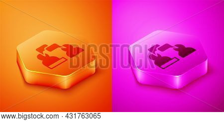 Isometric Two Sitting Men Talking Icon Isolated On Orange And Pink Background. Speech Bubble Chat. M