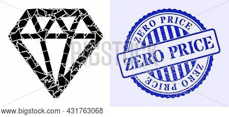 Shard Mosaic Diamond Icon, And Blue Round Zero Price Rubber Stamp Seal With Word Inside Round Form.