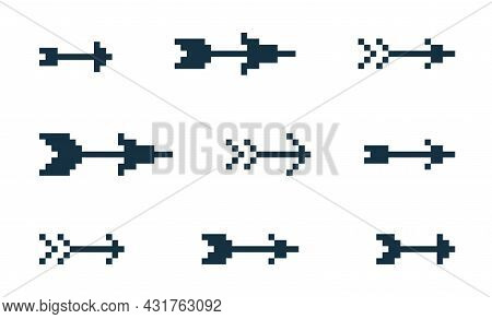 8 Bit Pixel Tribal Arrows Vector Set Of Icons, Collection Of Arrow From Bow Direction Cursors In Old