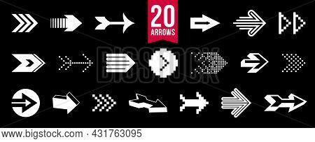 Diverse Arrow Cursors Vector Set, Different Shapes Styles And Concepts Arrows Single Color Monochrom