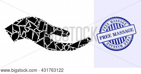Fraction Mosaic Petition Hand Icon, And Blue Round Free Massage Grunge Watermark With Caption Inside