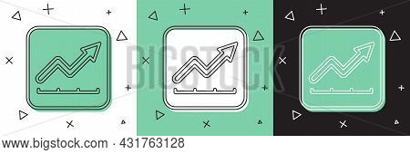 Set Financial Growth Increase Icon Isolated On White And Green, Black Background. Increasing Revenue