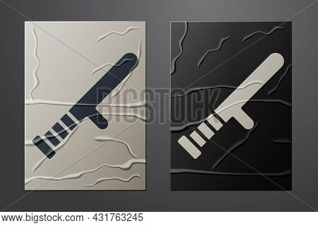 White Police Rubber Baton Icon Isolated On Crumpled Paper Background. Rubber Truncheon. Police Bat.