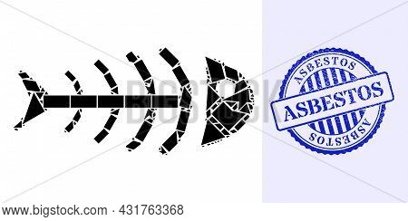 Fraction Mosaic Dead Fish Icon, And Blue Round Asbestos Grunge Seal With Text Inside Round Shape. De
