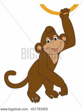 Cute Funny Happy Monkey Holding The Rope. Vector Monkey. Baby Monkey Vector Illustration
