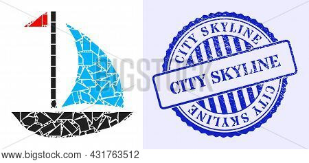 Shards Mosaic Sail Boat Icon, And Blue Round City Skyline Grunge Stamp With Caption Inside Circle Fo