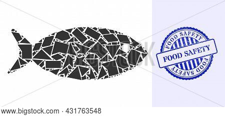 Shatter Mosaic Fish Icon, And Blue Round Food Safety Grunge Stamp Seal With Tag Inside Round Form. F
