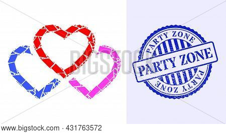 Debris Mosaic Triple Love Hearts Icon, And Blue Round Party Zone Rubber Stamp Seal With Text Inside