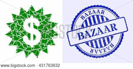 Debris Mosaic Dollar Rosette Icon, And Blue Round Bazaar Scratched Stamp Seal With Tag Inside Round