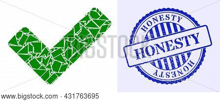 Spall Mosaic Ok Sign Icon, And Blue Round Honesty Dirty Stamp Seal With Text Inside Round Shape. Ok