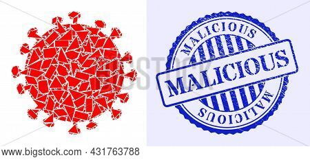 Shard Mosaic Covid Infection Icon, And Blue Round Malicious Rough Stamp Print With Text Inside Round