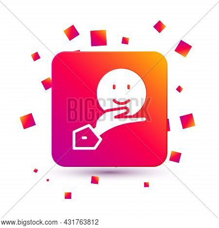 White Happy Friendship Day Icon Isolated On White Background. Everlasting Friendship Concept. Square