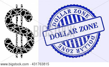 Spall Mosaic Dollar Icon, And Blue Round Dollar Zone Grunge Badge With Text Inside Round Form. Dolla