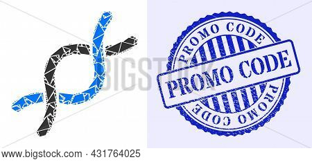 Spall Mosaic Dna Helix Icon, And Blue Round Promo Code Grunge Stamp With Text Inside Round Shape. Dn